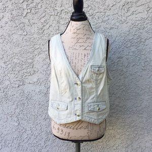 AEO Blue White Striped Knit 🧶 Button Up Vest